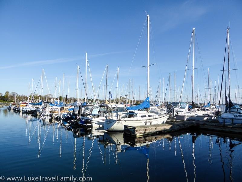 Boats moored at Oak Bay Marina