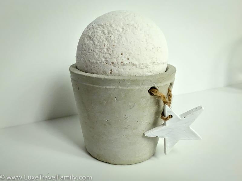 A bath bomb in a ceramic holder at the Mercer Hotel Barcelona