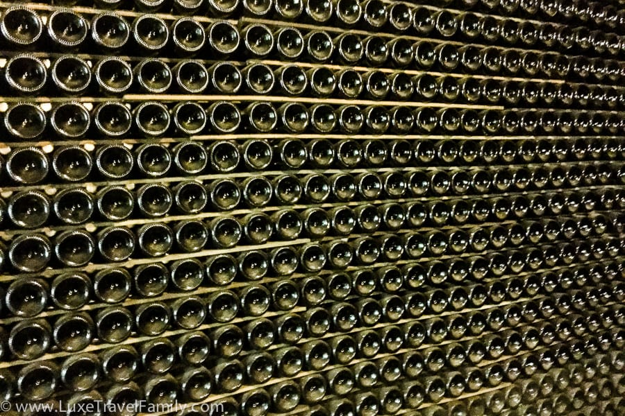 Racks of dusty bottles in the Codorníu cellar.