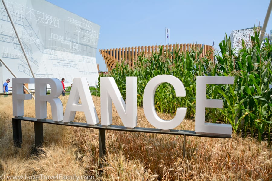 The word France in white letters in front of wheat at corn at Expo 2015 Milan.
