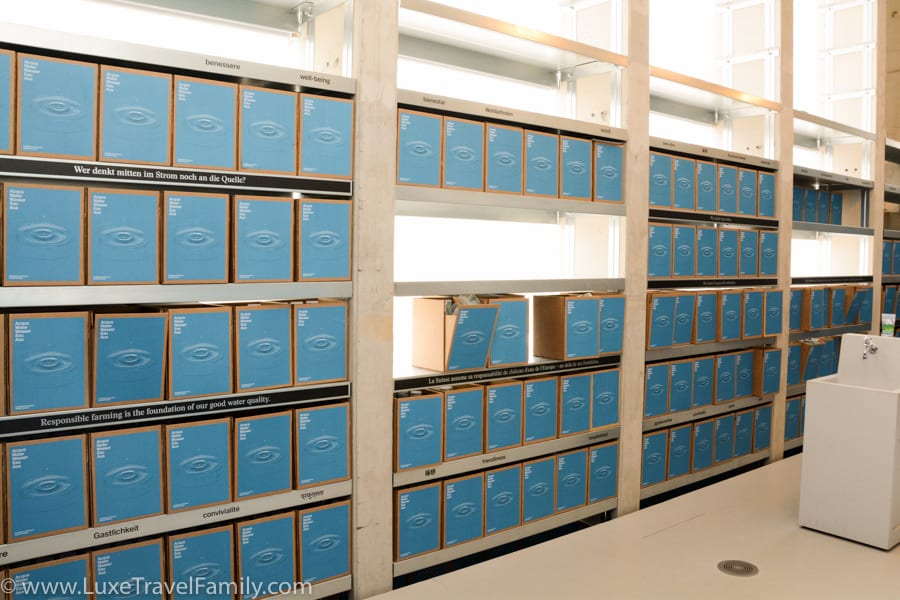 Blue boxes of water glasses at the Swiss Pavilion, Expo 2015.