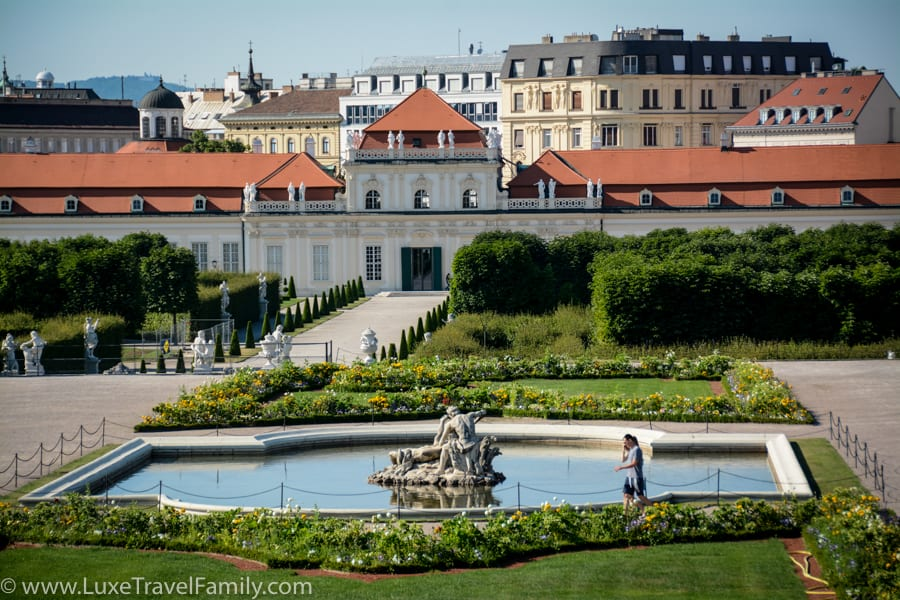 View of a pond and the Lower Belvedere Palace Vienna