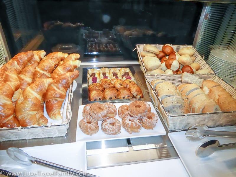 Breakfast pastries Swiss Arrivals Lounge in Zurich
