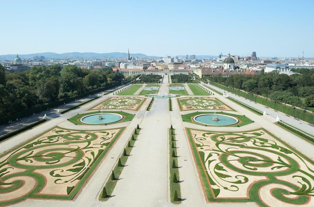 Manicured gardens at the Belvedere Palace Vienna