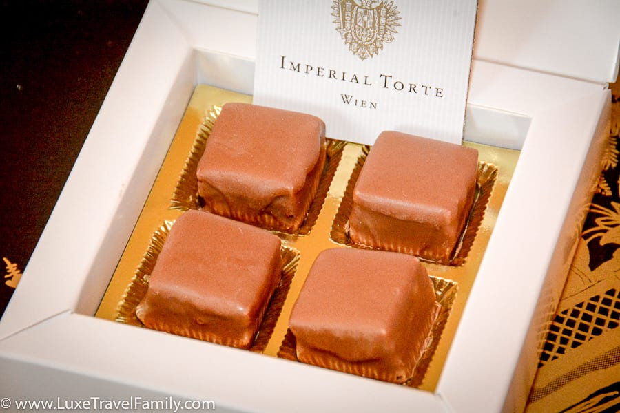 Four Imperial Torte chocolates from Hotel Imperial Vienna