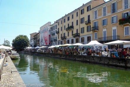 Flea market Sunday at Naviglio Grande Milan