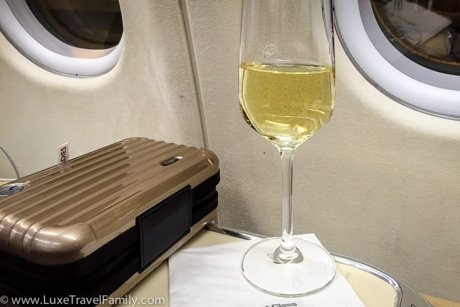 Champagne and a Rimowa amenity kit Lufthansa A330-300 First Class
