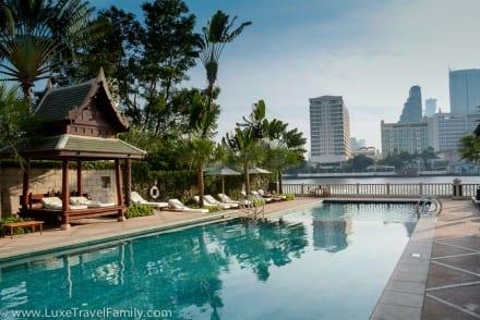 River view from The Peninsula Bangkok hotel pool