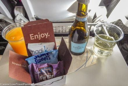 Alaska Airlines premium class review drinks and snack