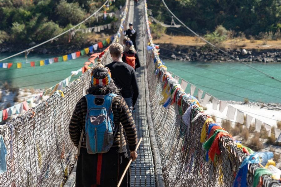cross a long suspension bridge Punakha things to do in Bhutan with kids