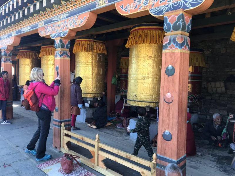 Massive metal prayer wheels National Memorial Chorten Thimphu
