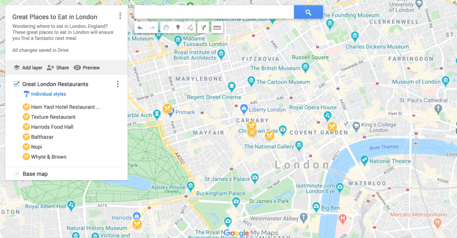 Great Places to Eat in London Map